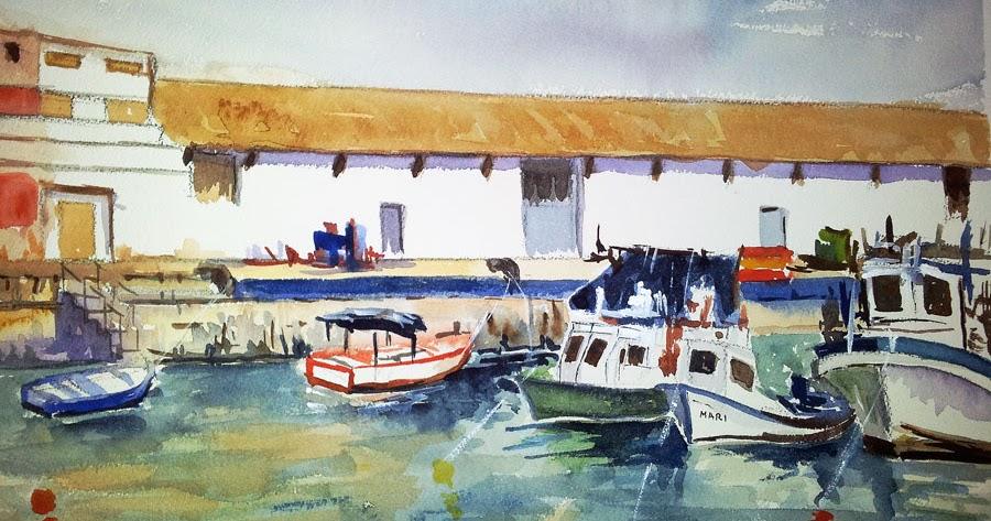 Blog acuarelas antonio leiva otra acuarela del puerto de - Puerto burriana ...