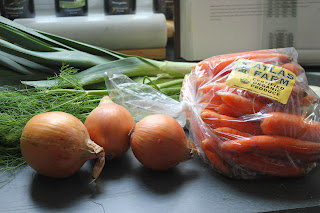 Onions, carrots, fennel, and leeks