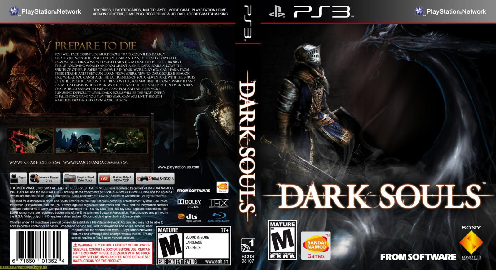 capa dark souls ps3 gamecover capas customizadas para