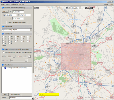 Mobile Atlas Creator MOBAC - schermata principale