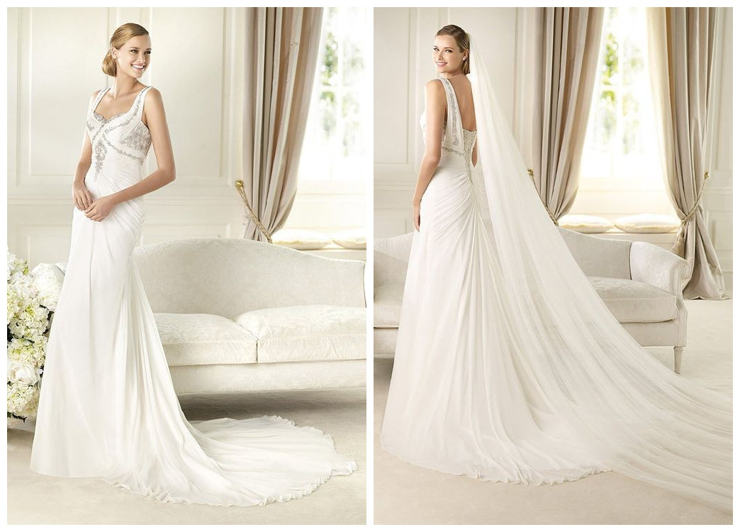 Chiffon Sweetheart Column Destination Wedding Dress