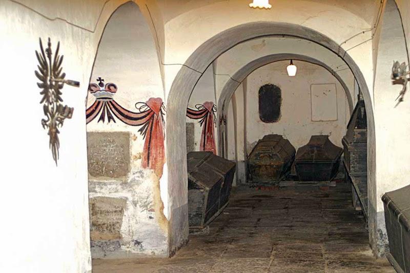 Nesvizh Roman Catholic Church with Radzivill family's coffins