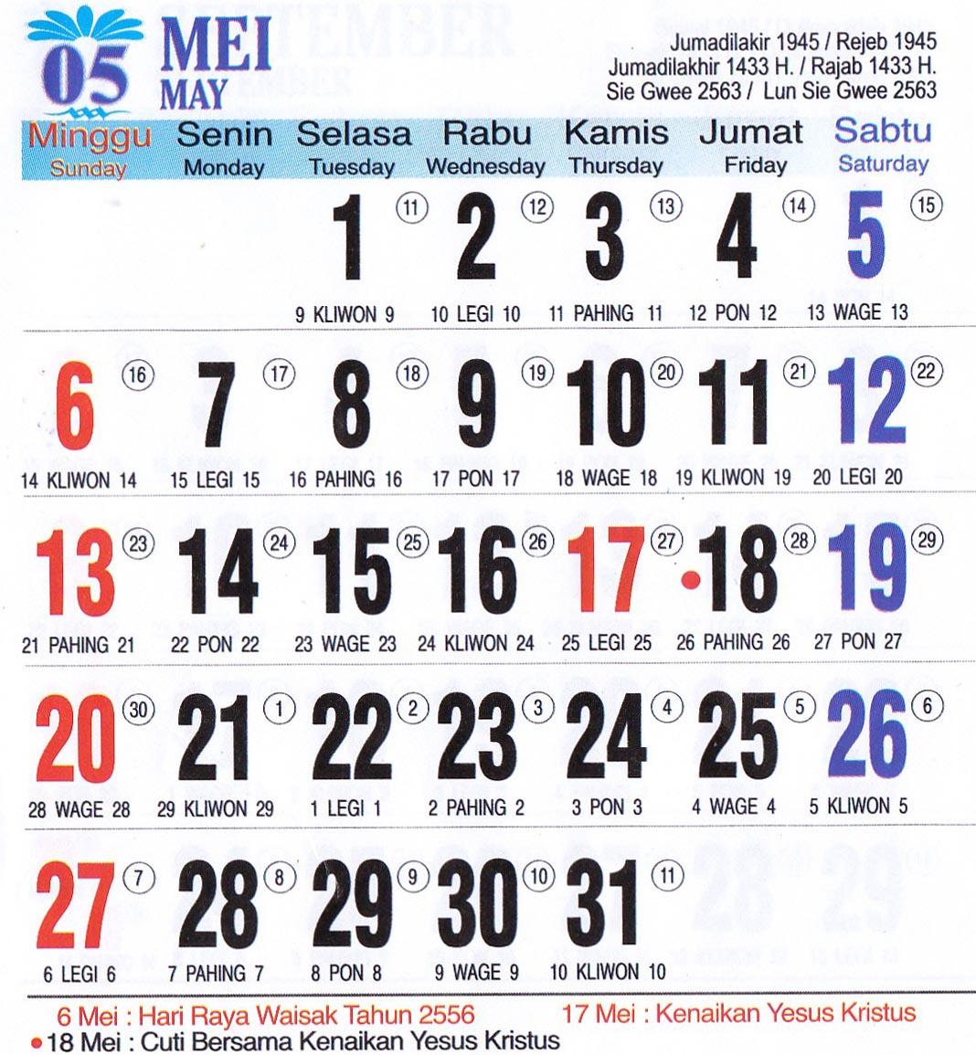 Kalender Tahun 2012 : Masehi, Kalender Islam, Kalender Jawa, Kalender