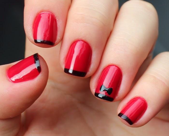 Marie paillette nail art en rouge et noir avec catrice - Idee nail art facile ...