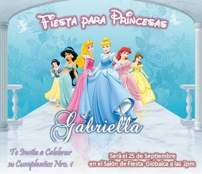 tu princesa con una invitación al estilo de las Princesas de Disney