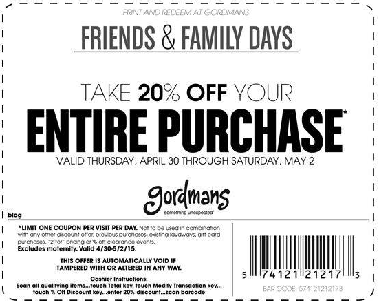Special friends and family discount from Gordmans