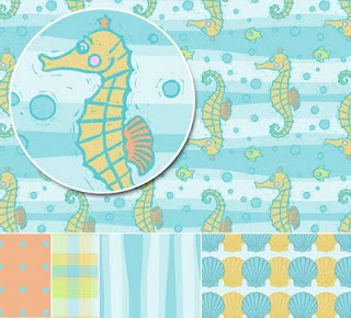 Seahorse and Shells Design