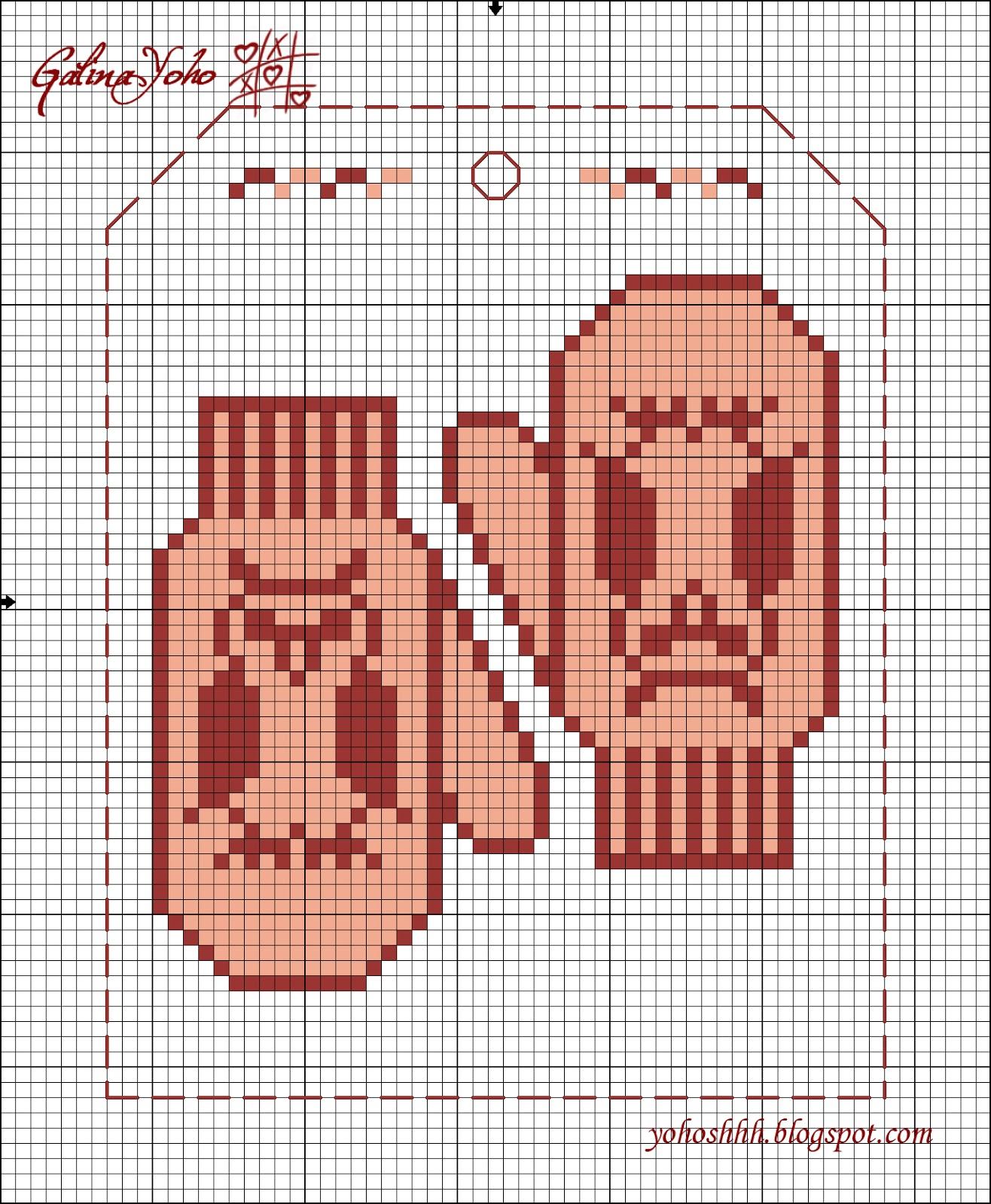 Схема вышивки крестом рукавички