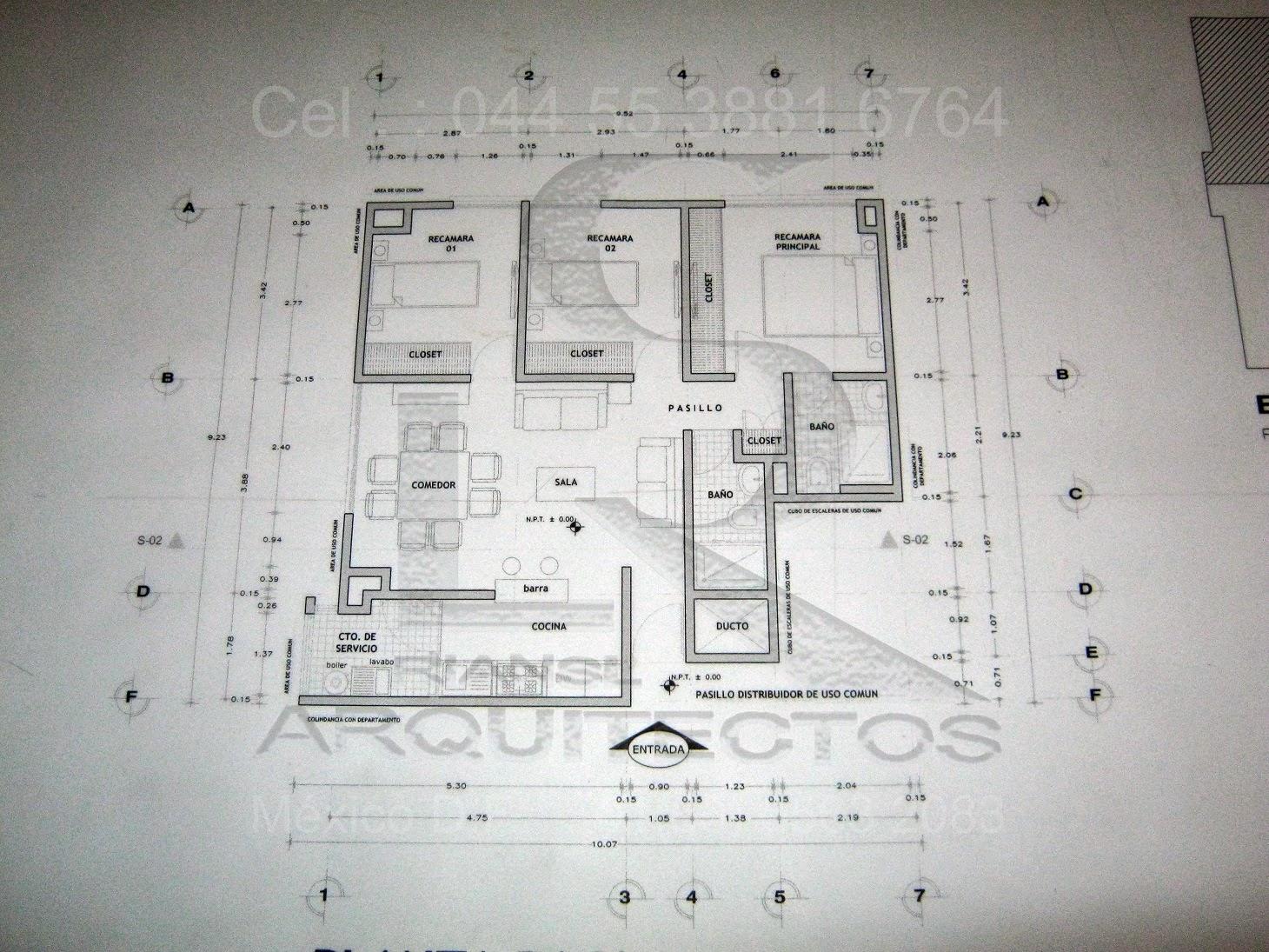 Dibujo de planos arquitect nicos de casa habitaci n en for Planos de casa habitacion