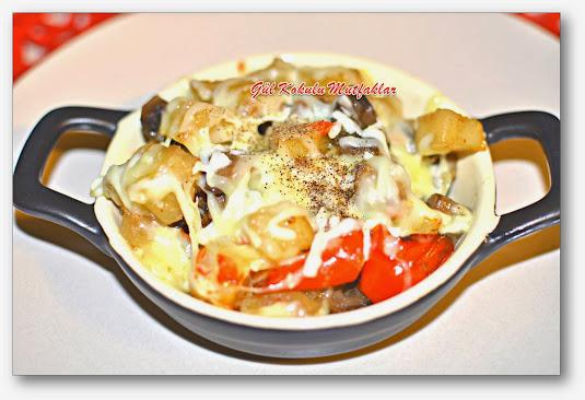 fırında patatesli kaşarlı mantar