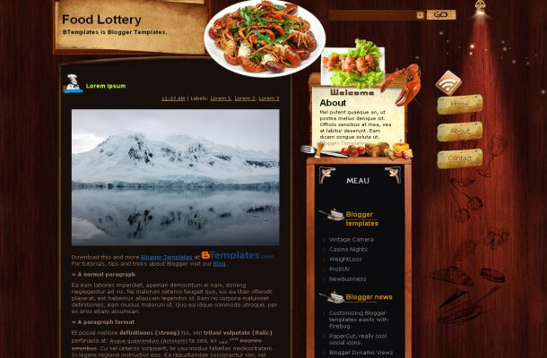 Free Blogger Restaurant Wooden Theme Template