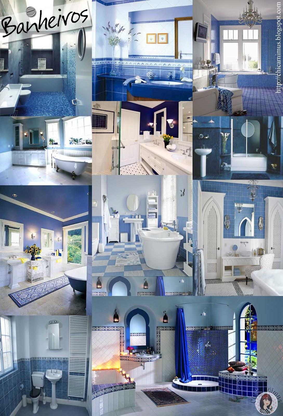 Decoração: azul #375794 1089x1600 Banheiro Com Decoração Azul
