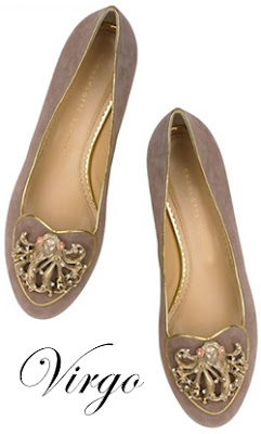 Charlotte Olympia Virgo Suede Flats Cosmic Collection