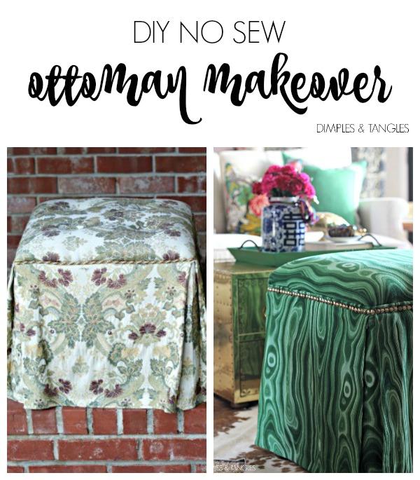 How to reupholster an ottoman, Robert Allen Malakos malachite fabric, diy upholstered ottoman makeover,