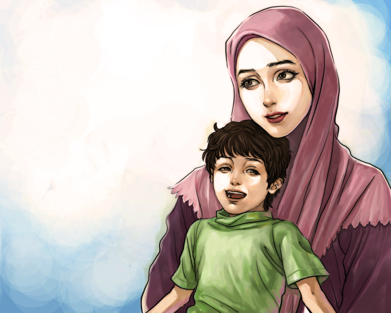 Mother and Child in Love - Islamic Wallpaper