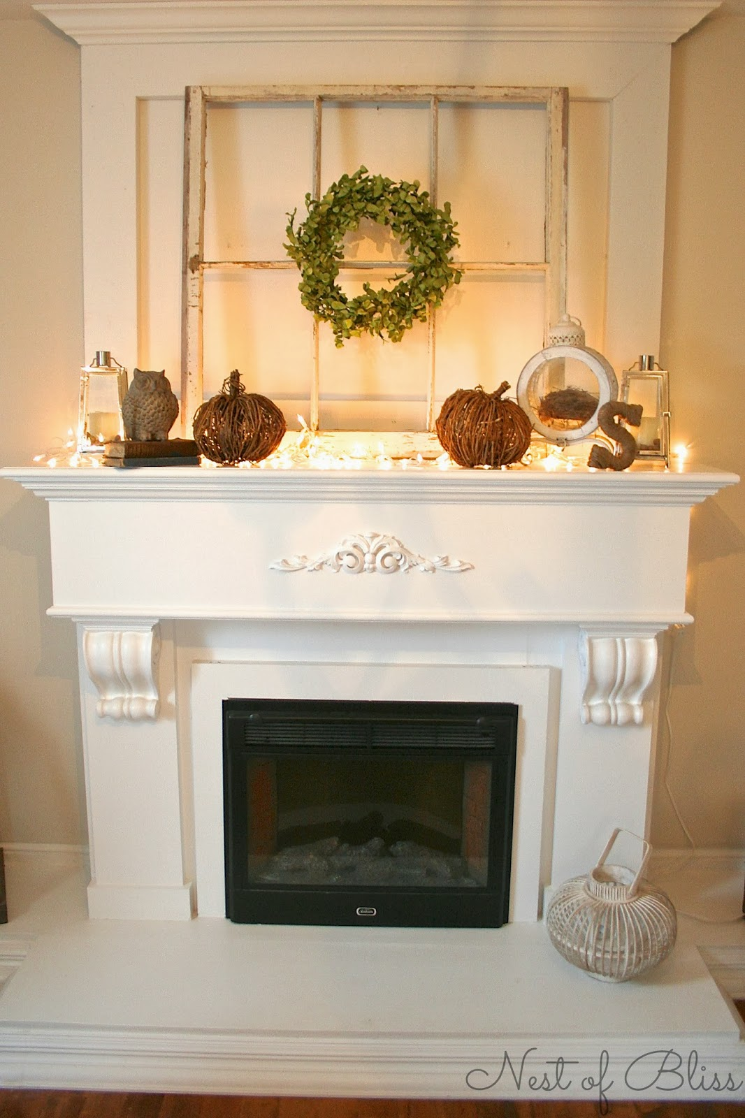 Fall fireplace mantel nest of bliss for Over the mantel decor