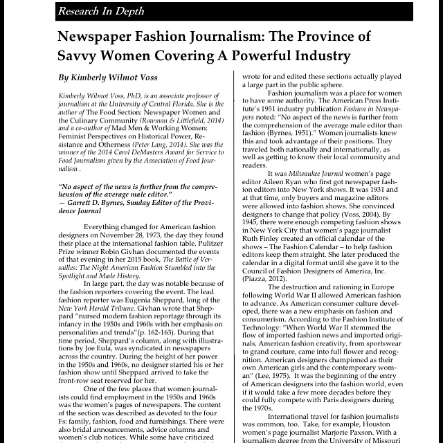I Was Excited To See That The New Issue Of Media Report Women Is Out It Includes My Article About History Newspaper Fashion Sections In