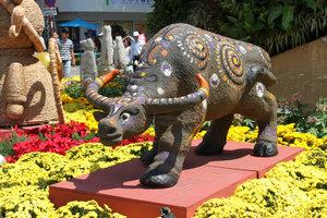 Model of buffalo at the flower festival