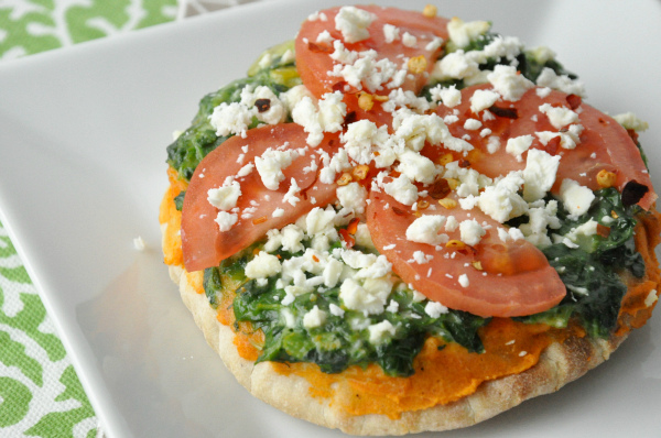 vegetarian veggie pita pizza hummus spinach feta tomato