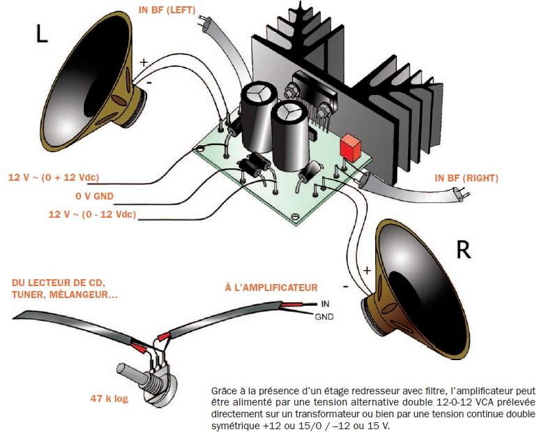 schema electronique gratuit montage un amplificateur st r o 2 x 30 w tda1521. Black Bedroom Furniture Sets. Home Design Ideas