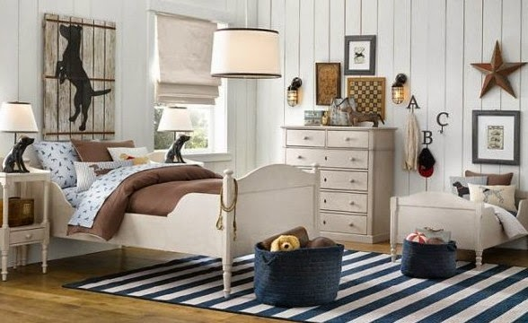 Traditional boys room decor ideas 2015, marine style boys room with blue striped rug