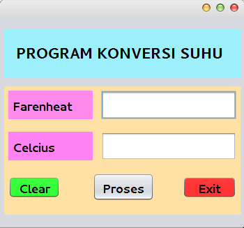 Tutorial contoh Program Sederhana Konversi Suhu menggunakan bahasa pemrograman Java di NetBeansIDE