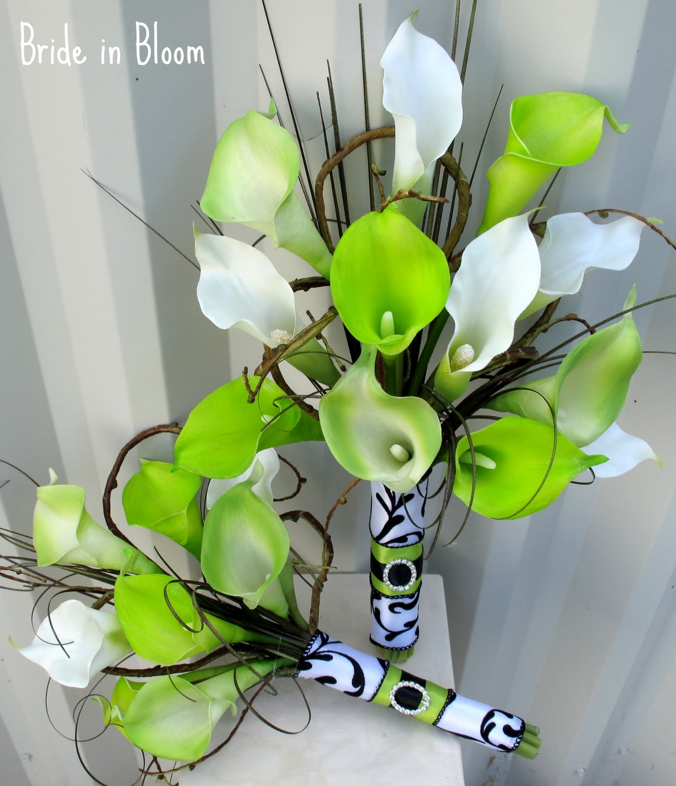 Lime Green Calla Lily Damask Wedding Bouquet Set