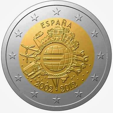 2 euro Spain 2012, Ten years of Euro cash