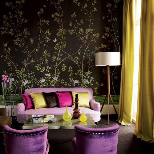 Theme design purple and gold color combination before for Gold wallpaper living room