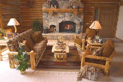 decoración sala rústica