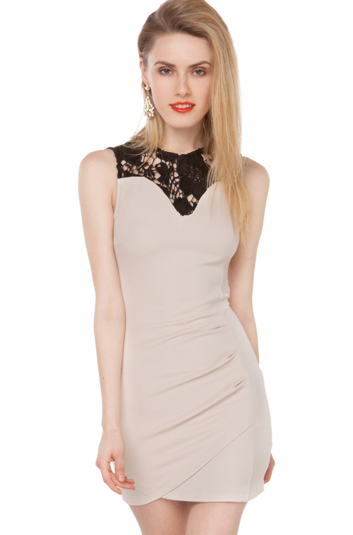 Asymmetrical Lace Collar Bodycon
