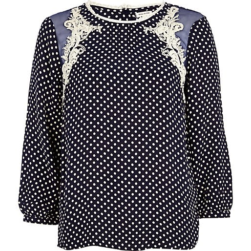 navy polka dot top