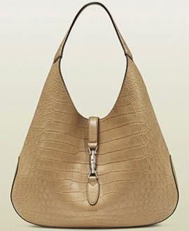 New Jackie Bag da Gucci bolsa coleção Jackie Soft bege couro de crocodilo