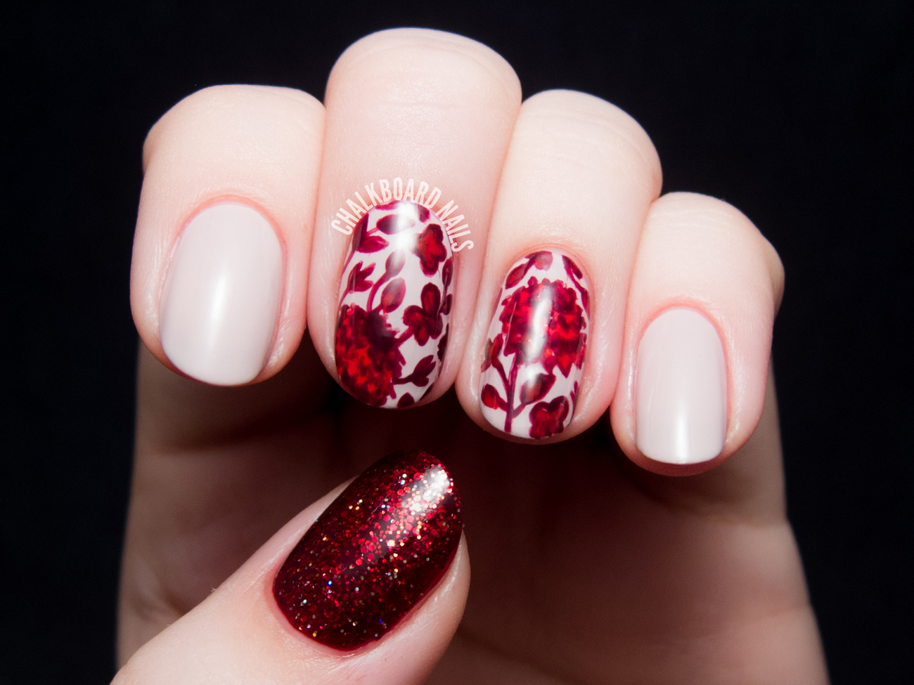 Ruby red floral by @chalkboardnails