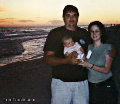Thomas, Tracie, and Baby Katarina at the beach