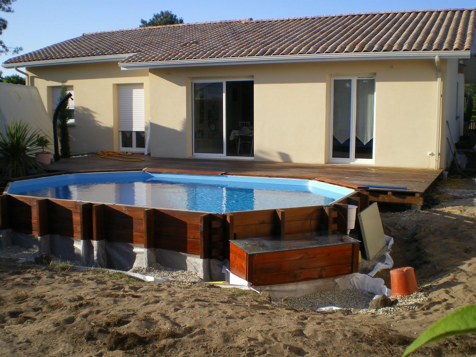 Piscine en kit bois derni re phase finitions et abords for Finition piscine beton