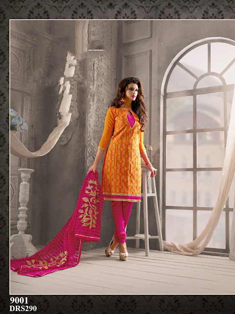 Purchase Chanderi Cotton Embroidery Dress Material