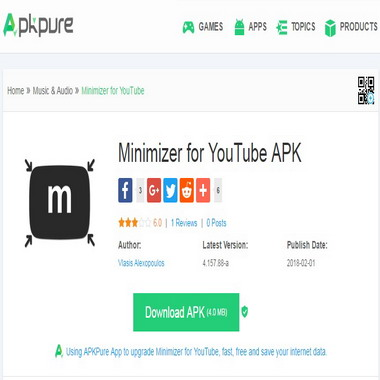apkpure com - minimizer for youtube