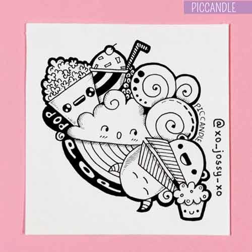 20 contoh gambar doodle art simple mudah di tiru