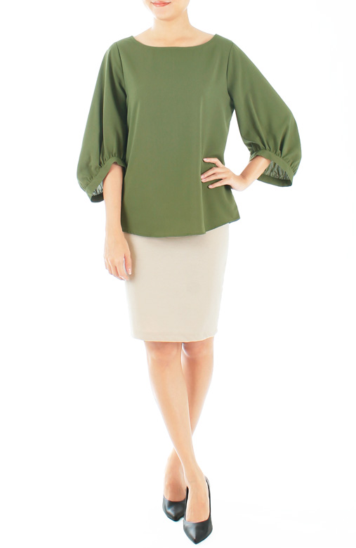 Olive Green Morning Glory Scoop Sleeve Blouse