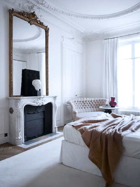 French White Bedroom Paris Apartment