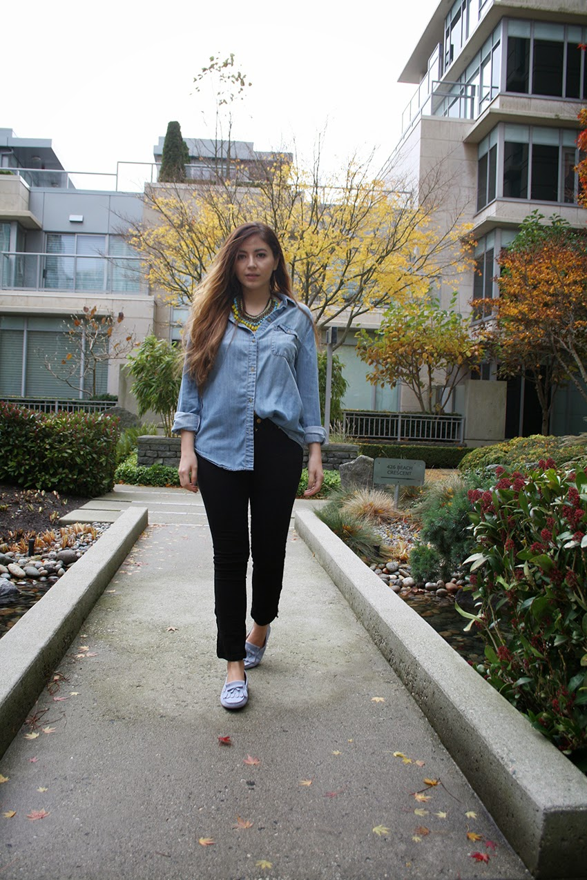 Vancouver, Style, Fashion, Street Style, Fashion Blogger, Outfit, Fall, Autumn, TODS, BDG, ZARA, Statement Necklace