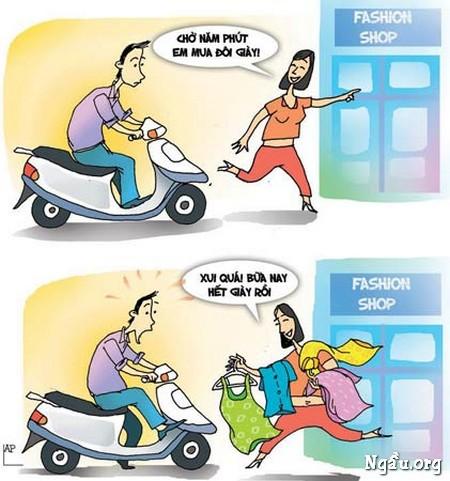 Biếm họa về sở thích đi shoping của những bà vợ