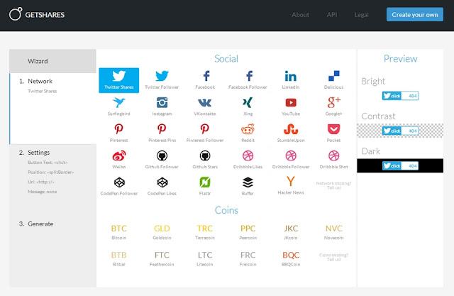 GetShares botões partes sociais.  Blogger