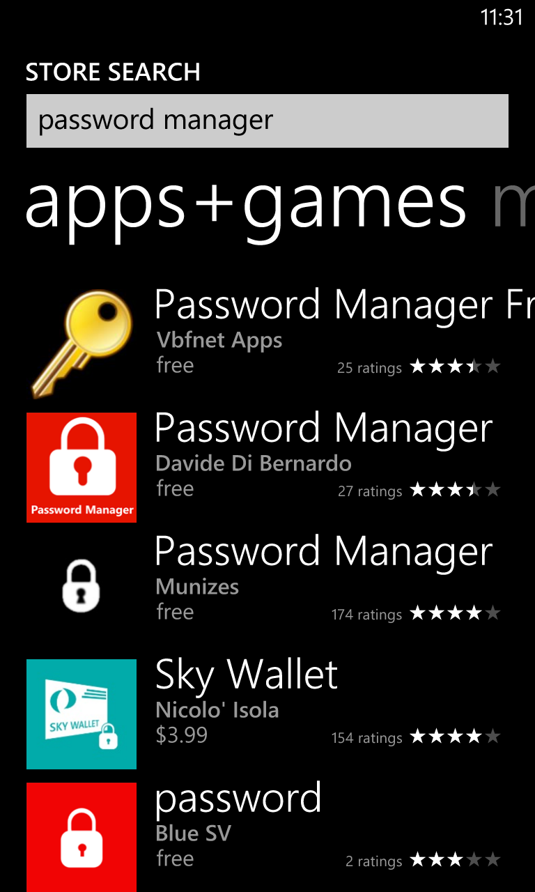 Windows Phone Store Password Manager Whiskers