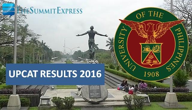 UPCAT Results AY 2016-2017