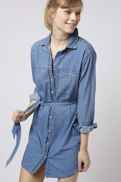 topshop denim dress, denim shirt dress,