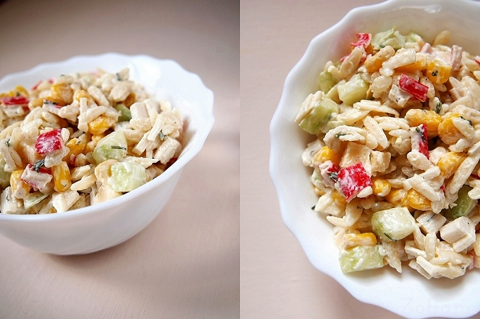 surimi pasta and cheese salad