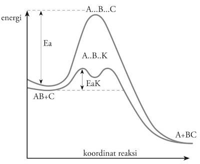 Diagram energi potensial reaksi tanpa katalis dan dengan katalis.