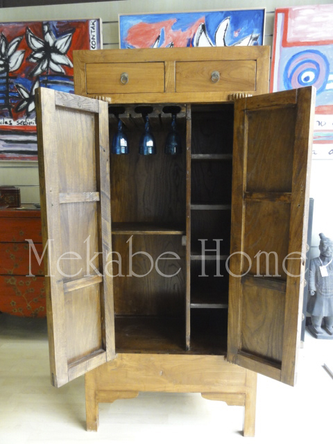 Mueble bar r stico con herraje oriental mekabe home for Mueble bar rustico